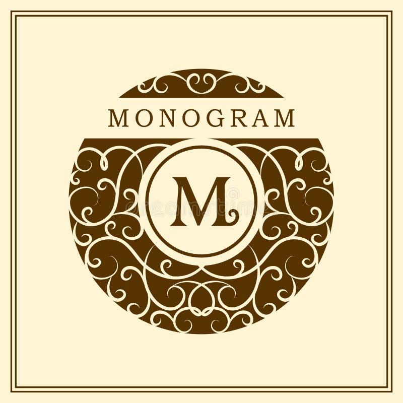 Στοιχεία σχεδίου μονογραμμάτων, χαριτωμένο πρότυπο Καλλιγραφικό κομψό σχέδιο λογότυπων τέχνης γραμμών Έμβλημα Μ επιστολών για το  διανυσματική απεικόνιση