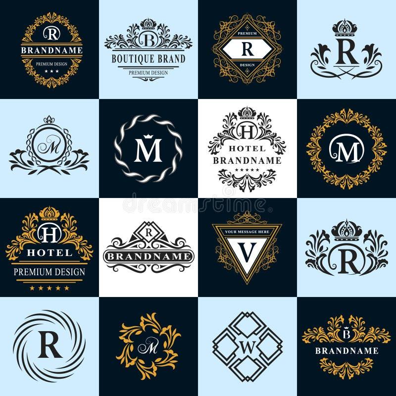 Στοιχεία σχεδίου μονογραμμάτων, χαριτωμένο πρότυπο Καλλιγραφικό κομψό σχέδιο λογότυπων τέχνης γραμμών απεικόνιση αποθεμάτων