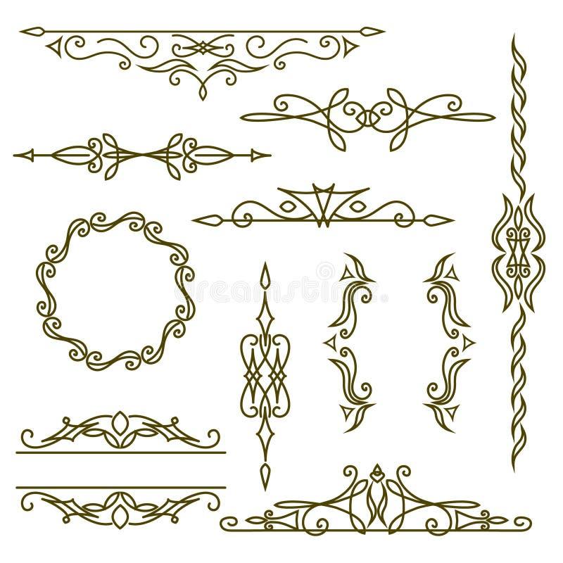 Στοιχεία σχεδίου μονογραμμάτων, χαριτωμένο πρότυπο Κομψό σχέδιο, πλαίσια και σύνορα λογότυπων τέχνης γραμμών επίσης corel σύρετε  ελεύθερη απεικόνιση δικαιώματος