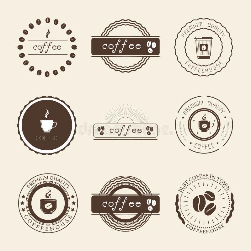 Στοιχεία σχεδίου λογότυπων, διακριτικών και ετικετών καφετεριών καθορισμένα απεικόνιση αποθεμάτων