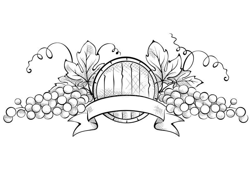 Στοιχεία σχεδίου -- σταφύλι με το βαρέλι κορδελλών και κρασιού ελεύθερη απεικόνιση δικαιώματος