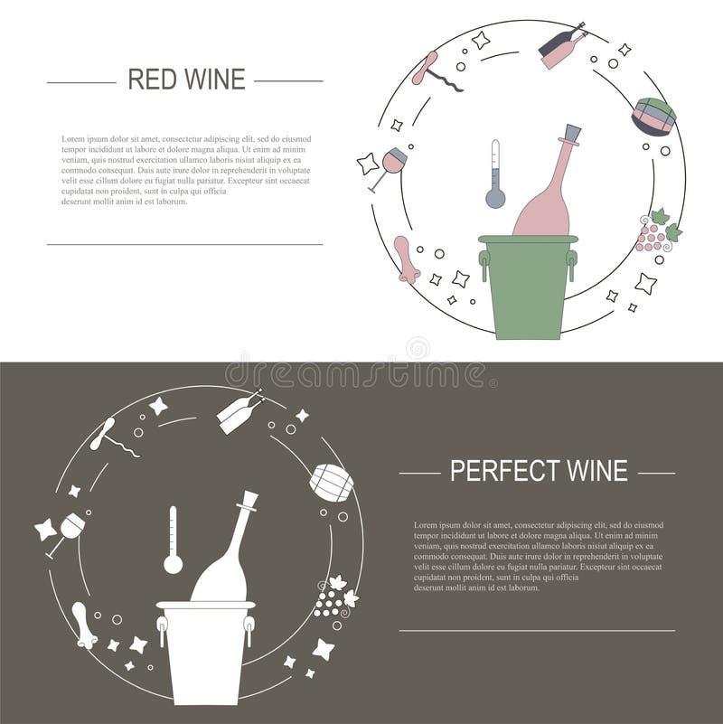 Στοιχεία σχεδίου της έννοιας κρασιού, διανυσματική απεικόνιση αποθεμάτων Διανυσματικά flayers και εμβλήματα στο σύγχρονο επίπεδο  απεικόνιση αποθεμάτων
