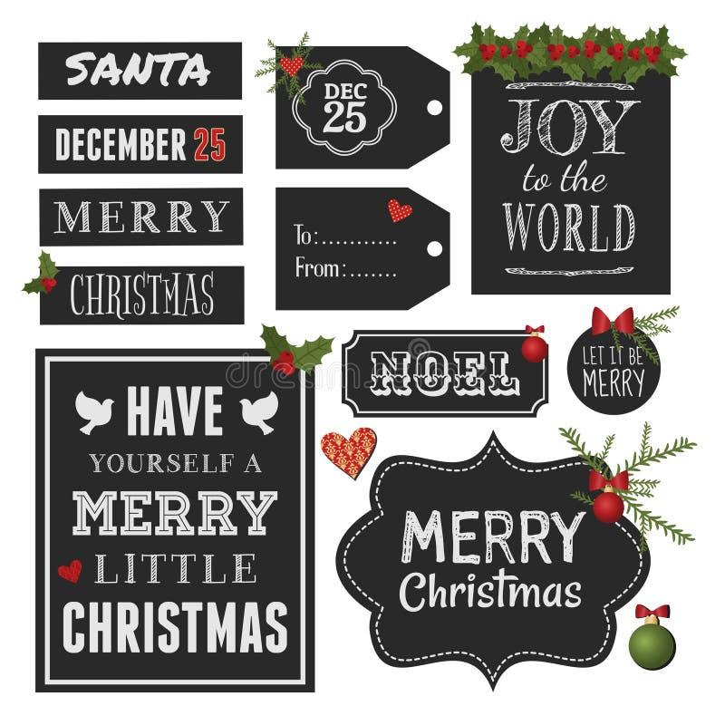 Στοιχεία σχεδίου Χριστουγέννων πινάκων κιμωλίας ελεύθερη απεικόνιση δικαιώματος