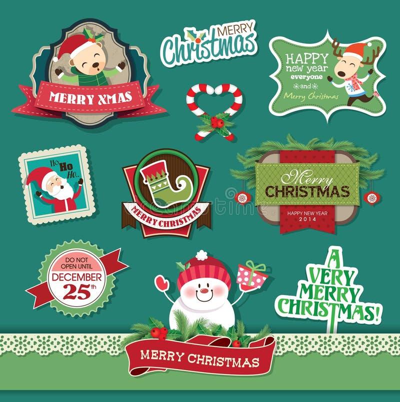 Στοιχεία σχεδίου Χριστουγέννων διανυσματική απεικόνιση