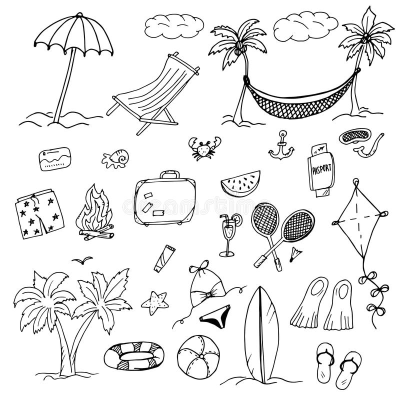 Στοιχεία σχεδίων του ελεύθερου χρόνου και της παραλίας ελεύθερη απεικόνιση δικαιώματος