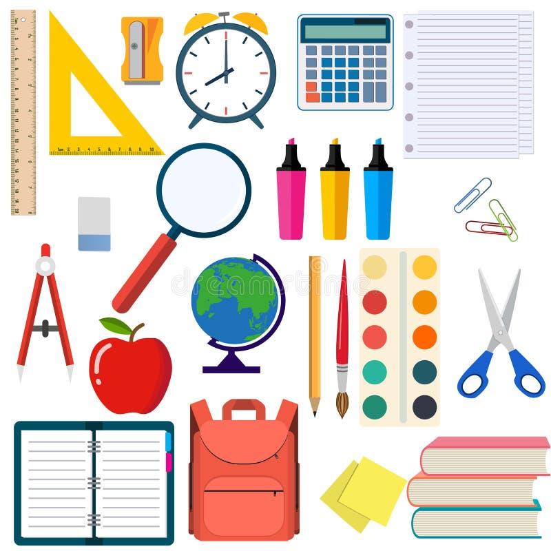 Στοιχεία σχολείου και εργασιακών χώρων εκπαίδευσης απεικόνιση αποθεμάτων
