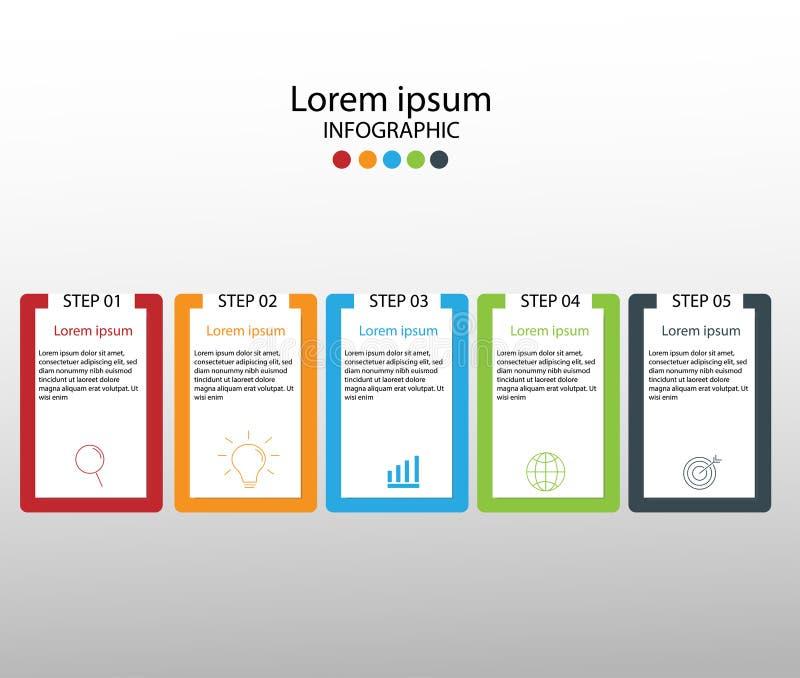 Στοιχεία σύγχρονου σχεδίου για το επιχειρησιακό πολύχρωμο infographics Vec απεικόνιση αποθεμάτων