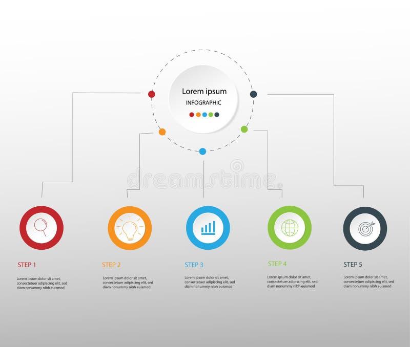 Στοιχεία σύγχρονου σχεδίου για το επιχειρησιακό πολύχρωμο infographics Vec διανυσματική απεικόνιση