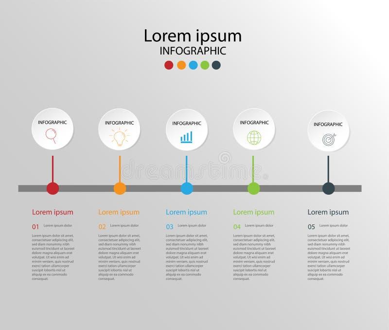 Στοιχεία σύγχρονου σχεδίου για το επιχειρησιακό πολύχρωμο infographics Vec ελεύθερη απεικόνιση δικαιώματος