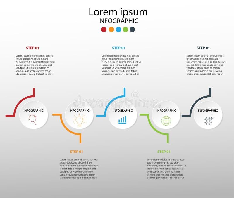 Στοιχεία σύγχρονου σχεδίου για το επιχειρησιακό πολύχρωμο infographics Vec στοκ εικόνα