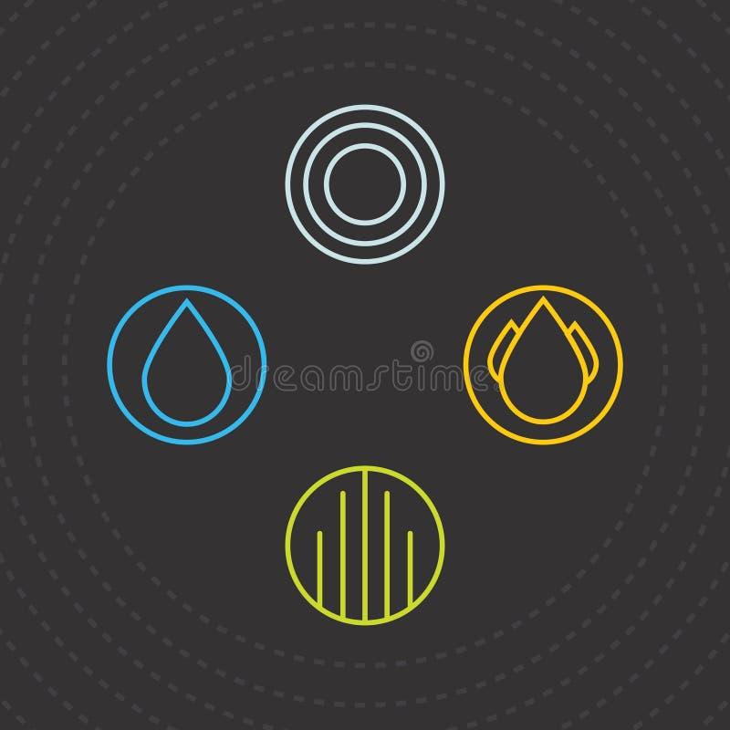 στοιχεία τέσσερα Εικονίδια των τεσσάρων στοιχείων Διανυσματικό νερό, αέρας, γη και πυρκαγιά προτύπων λογότυπων ελεύθερη απεικόνιση δικαιώματος