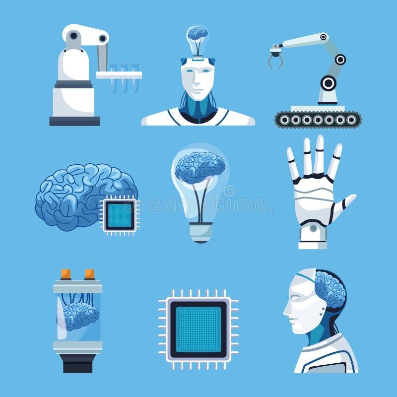Στοιχεία τεχνητής νοημοσύνης διανυσματική απεικόνιση