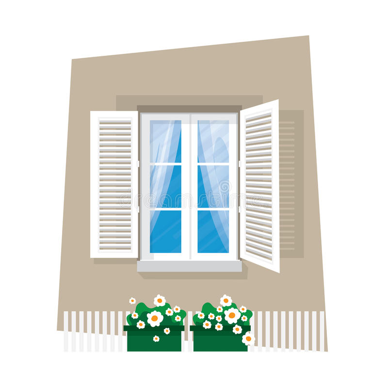 Στοιχεία της αρχιτεκτονικής - παράθυρο Επίπεδο ύφος Για την εσωτερική και εξωτερική χρήση κουρτίνα Λουλούδι διάνυσμα ελεύθερη απεικόνιση δικαιώματος