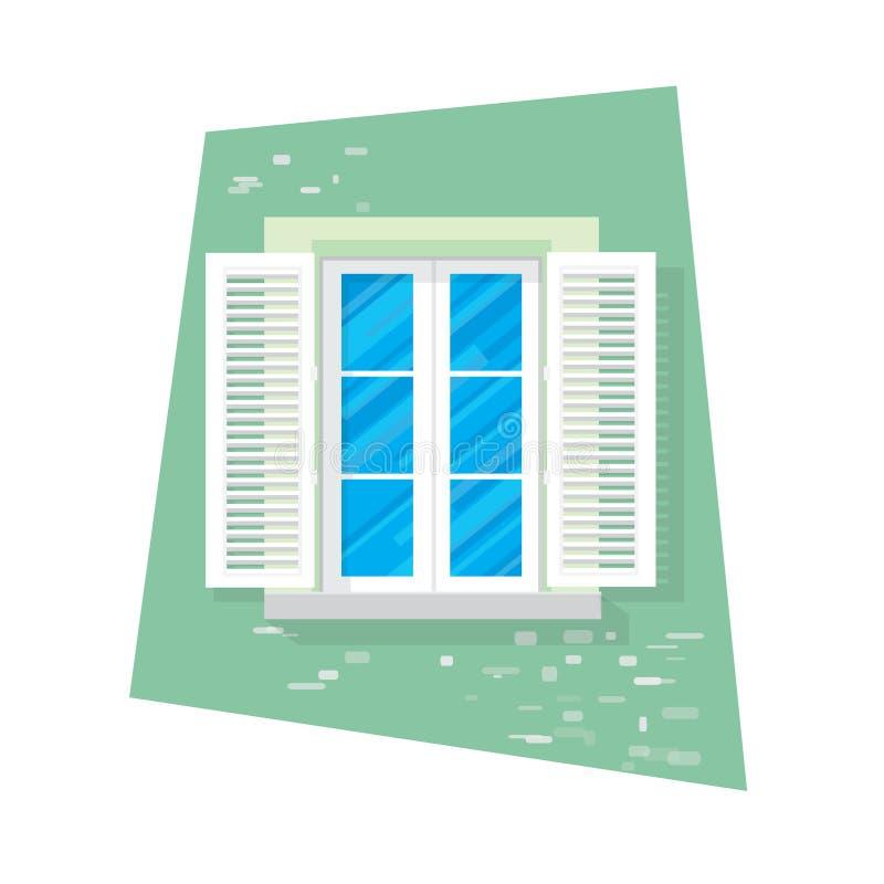 Στοιχεία της αρχιτεκτονικής - παράθυρο Επίπεδο ύφος Για την εσωτερική και εξωτερική χρήση κουρτίνα Λουλούδι διάνυσμα απεικόνιση αποθεμάτων