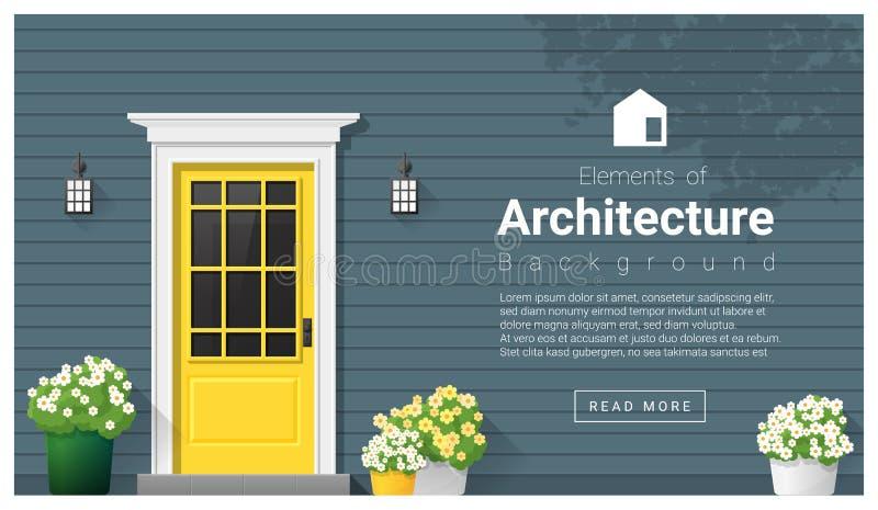 Στοιχεία της αρχιτεκτονικής, υπόβαθρο μπροστινών πορτών διανυσματική απεικόνιση
