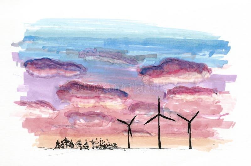 Στοιχεία της Βενετίας, Ιταλία Χρωματισμένο σκίτσο, εργασία τέχνης ελεύθερη απεικόνιση δικαιώματος