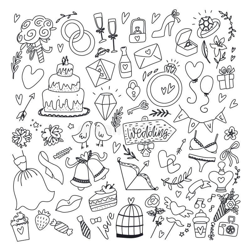 Στοιχεία της γαμήλιας ημέρας Σετ χειροποίητων με λουλούδια, νυφικό, παπούτσια, γυαλιά για σαμπάνια και εορταστικά χαρακτηριστικά απεικόνιση αποθεμάτων