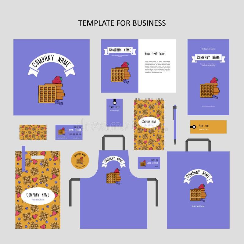 Στοιχεία της εταιρικής ταυτότητας για το εστιατόριο, καφές διανυσματική απεικόνιση