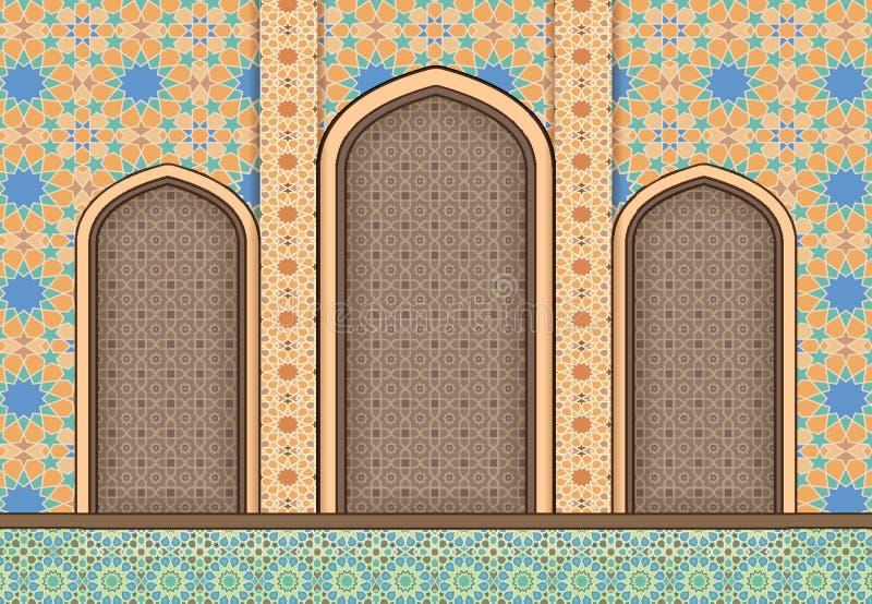 Στοιχεία του ισλαμικού διακοσμητικού υποβάθρου αρχιτεκτονικής διανυσματική απεικόνιση