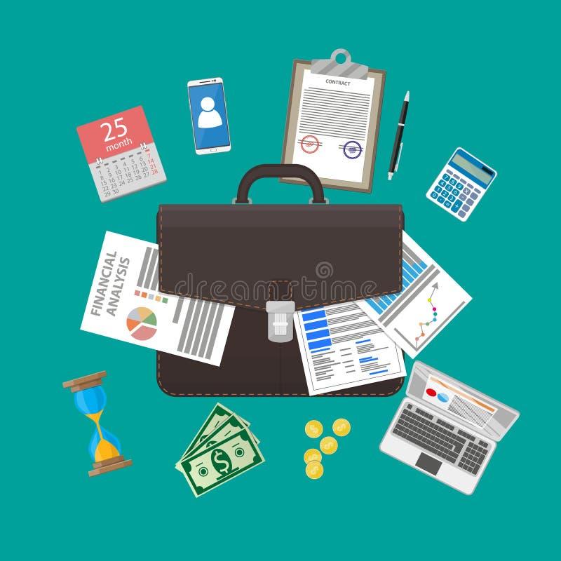 Στοιχεία χαρτοφυλάκων και επιχειρήσεων δέρματος ελεύθερη απεικόνιση δικαιώματος