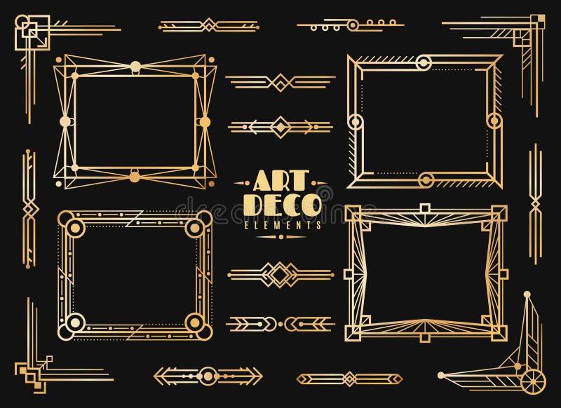 Στοιχεία deco τέχνης Χρυσά σύνορα πλαισίων γαμήλιου deco, κλασικοί διαιρέτες και γωνίες χρυσή περίληψη τέχνης πολυτέλειας της δεκ διανυσματική απεικόνιση