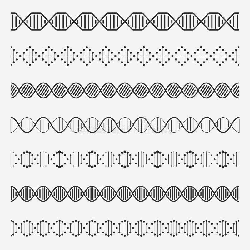 Στοιχεία DNA Τα διπλά χρωμοσώματα ελίκων διαμορφώνουν τη χημεία αλυσίδ διανυσματική απεικόνιση