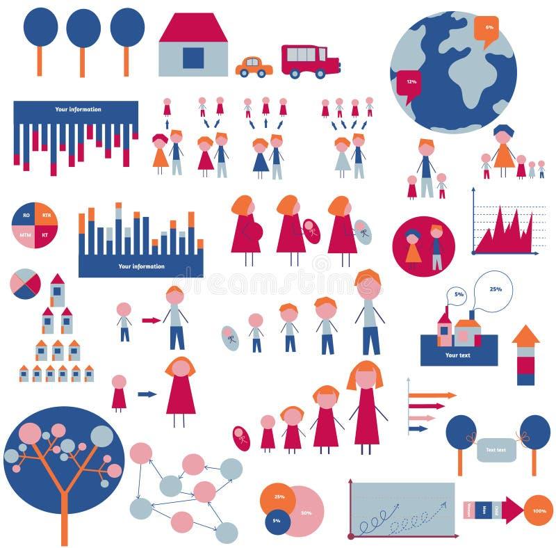Στοιχεία Infographic για την οικογένεια και το σπίτι απεικόνιση αποθεμάτων