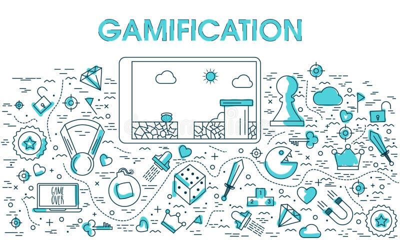 Στοιχεία Infographic για Gamification ελεύθερη απεικόνιση δικαιώματος