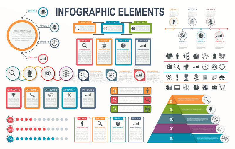 Στοιχεία Infographic, διάγραμμα, σχεδιάγραμμα ροής της δουλειάς, επιλογές επιχειρησιακών βημάτων απεικόνιση αποθεμάτων