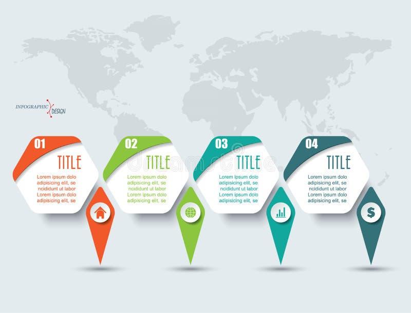 Στοιχεία Infographic με τέσσερις επιλογές και παγκόσμιο χάρτη ελεύθερη απεικόνιση δικαιώματος
