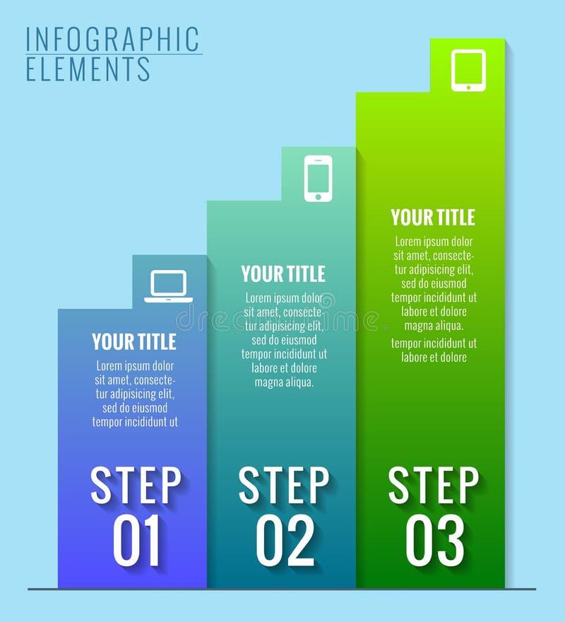 Στοιχεία Infographic. Τρία βήματα στην επιτυχία. απεικόνιση αποθεμάτων