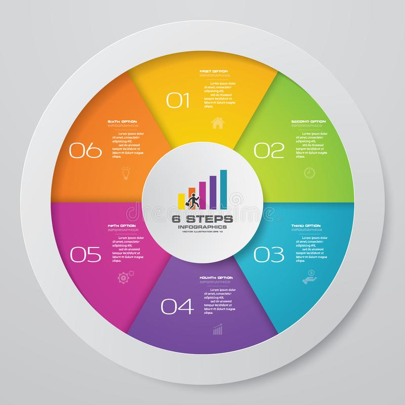 6 στοιχεία infographics διαγραμμάτων κύκλων βημάτων διανυσματική απεικόνιση