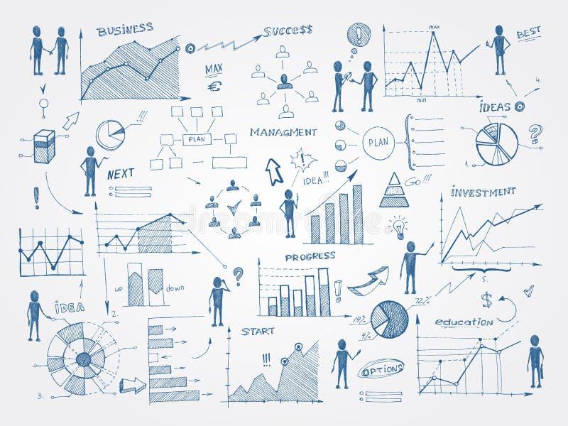 Στοιχεία infographics διοίκησης επιχειρήσεων Doodle ελεύθερη απεικόνιση δικαιώματος