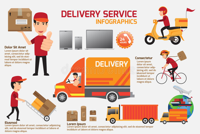Στοιχεία infographics υπηρεσιών παράδοσης Λεπτομέρεια των ανθρώπων στο unif διανυσματική απεικόνιση