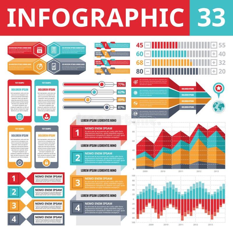 Στοιχεία 33 Infographics διανυσματική απεικόνιση