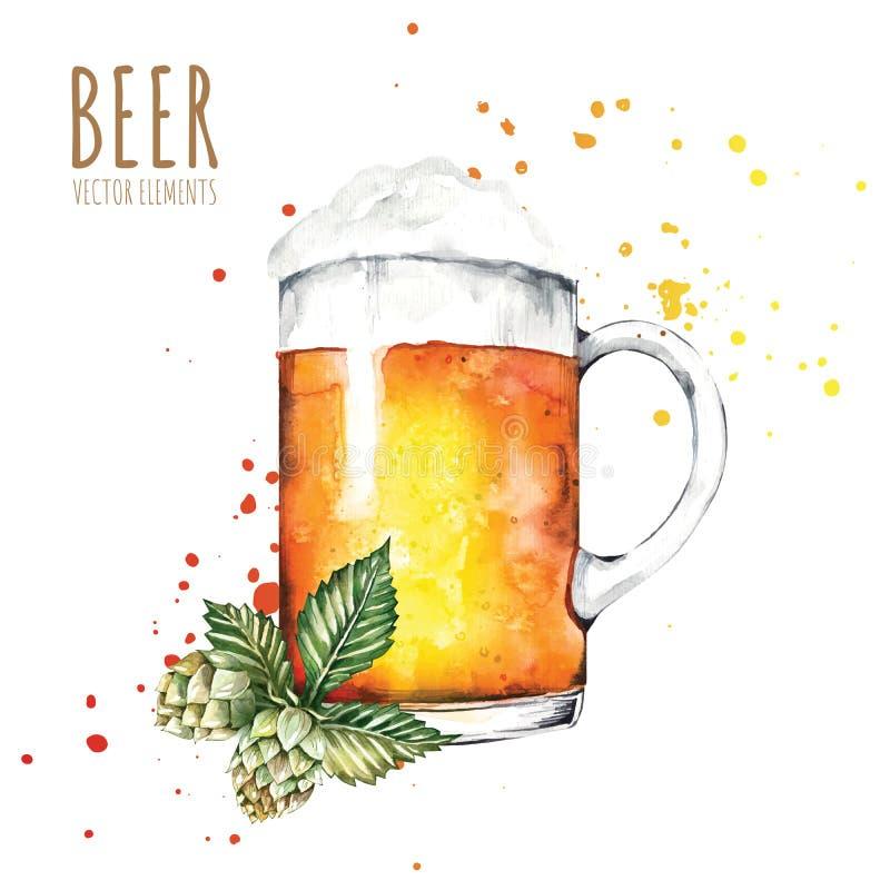 Στοιχεία Watercolor στο θέμα της μπύρας Γυαλί μπύρας, λυκίσκοι, βύνη ελεύθερη απεικόνιση δικαιώματος