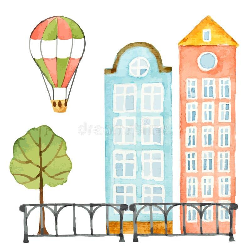 Στοιχεία Watercolor του αστικού σχεδίου, σπίτι, δέντρο, φράκτης, μπαλόνι απεικόνιση αποθεμάτων