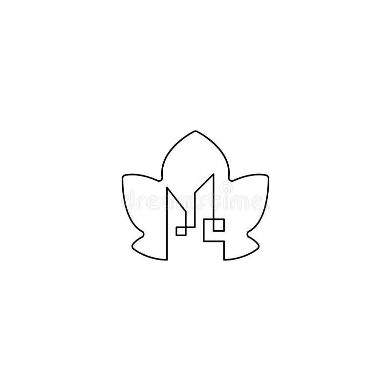 στοιχείο απεικόνισης εικονιδίων σχεδίου λογότυπων φύσης φύλλων πόλεων που απομονώνεται απεικόνιση αποθεμάτων