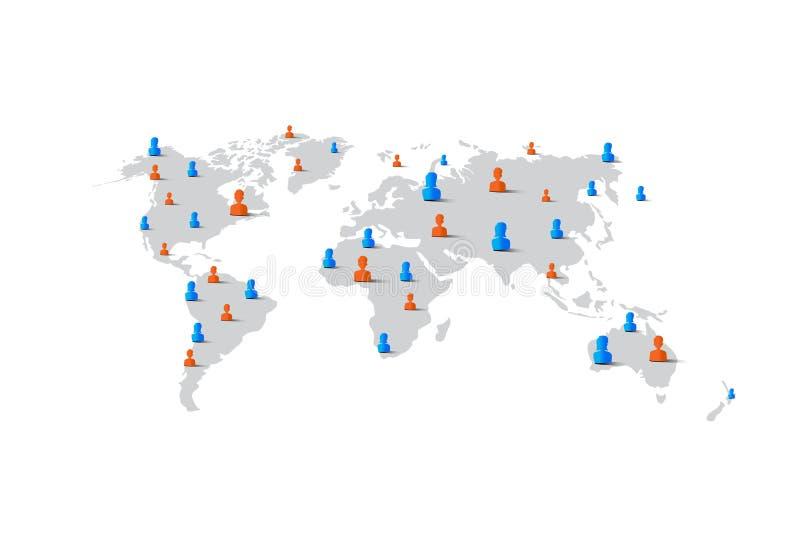 Στοιχείο γυναικών ανδρών ανθρώπων στον παγκόσμιο χάρτη, έννοια δικτύων ελεύθερη απεικόνιση δικαιώματος