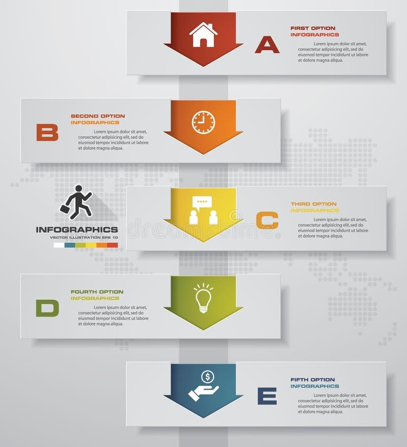 στοιχείο επιχειρησιακού infographics 5 βημάτων γραφική παράσταση 5 βημάτων για το πρότυπο παρουσίασης διανυσματική απεικόνιση