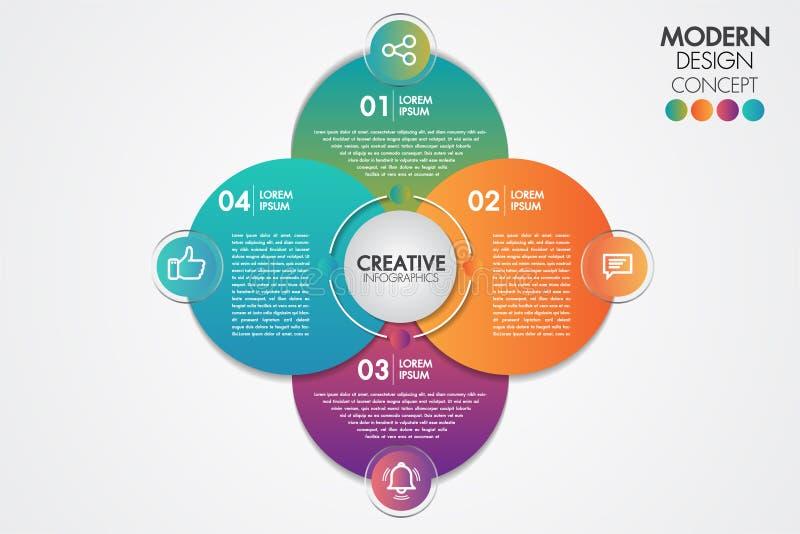 Στοιχείο επιχειρησιακού infographics Διάγραμμα προτύπων διαγραμμάτων κύκλων με 4 βήματα ή επιλογές για τις παρουσιάσεις, γραφική  ελεύθερη απεικόνιση δικαιώματος