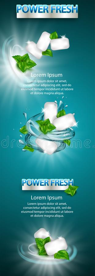 Στοιχείο σχεδίου προϊόντων, μεγάλο έμβλημα Η αγγελία γόμμας γεύσης μεντών με το φύλλο και το νερό καταβρέχουν το στοιχείο, στο αν ελεύθερη απεικόνιση δικαιώματος