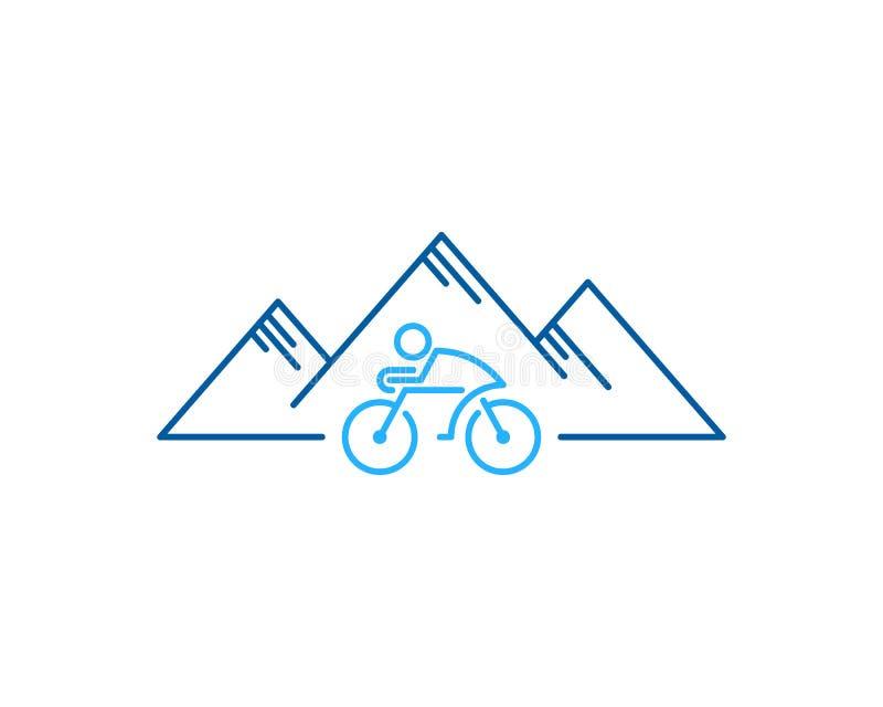 Στοιχείο σχεδίου λογότυπων εικονιδίων κύκλων ποδηλάτων βουνών διανυσματική απεικόνιση