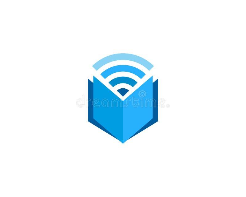 Στοιχείο σχεδίου λογότυπων εικονιδίων Wifi βιβλίων διανυσματική απεικόνιση