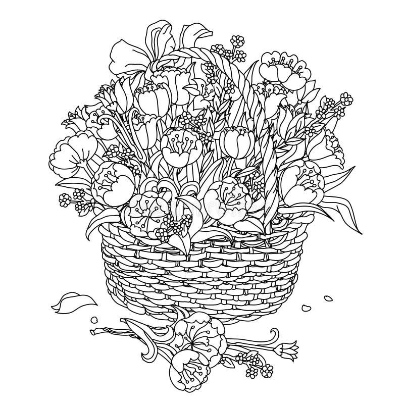 Στοιχείο σχεδίων χεριών zentangle μαύρο λευκό Λουλούδι Mandala απεικόνιση αποθεμάτων