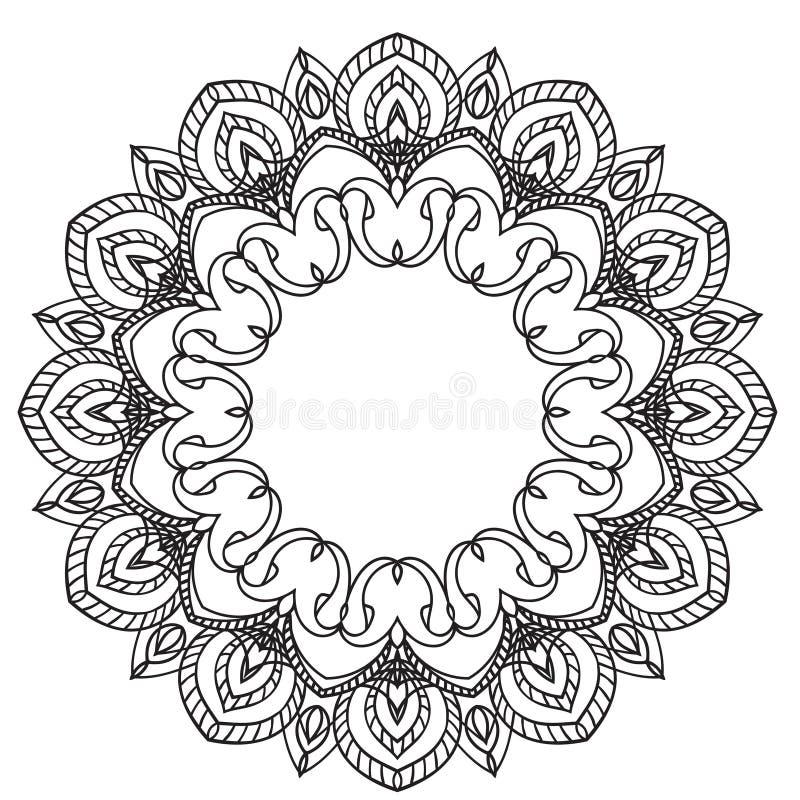 Στοιχείο σχεδίων χεριών zentangle μαύρο λευκό Λουλούδι Mandala διανυσματική απεικόνιση