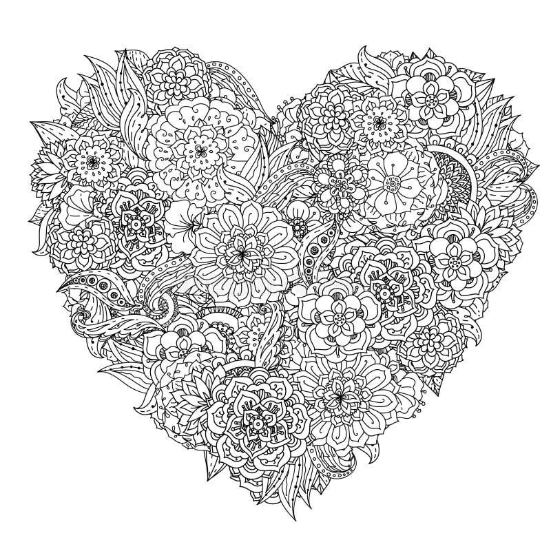 Στοιχείο σχεδίων χεριών zentangle μαύρο λευκό διανυσματική απεικόνιση