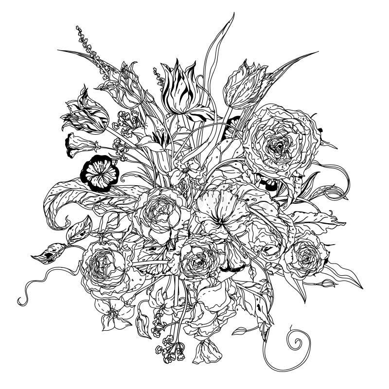 Στοιχείο σχεδίων χεριών zentangle μαύρο λευκό απεικόνιση αποθεμάτων