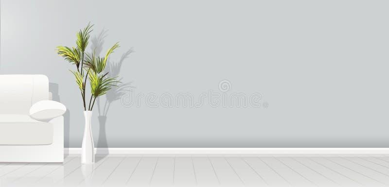 Στοιχείο της αρχιτεκτονικής - διανυσματικοί καναπές και εγκαταστάσεις πλάτους τοίχων υποβάθρου γκρίζοι κενοί άσπροι - διανυσματικ απεικόνιση αποθεμάτων