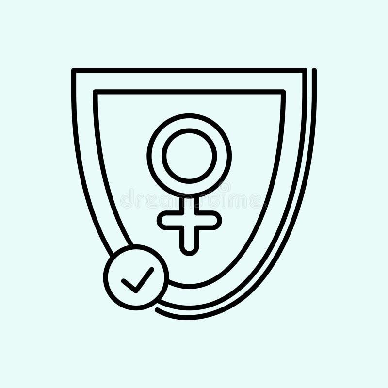 ασπίδα, γυναίκες, εικονίδιο γένους Στοιχείο του φεμινισμού για το κινητό εικονίδιο έννοιας και Ιστού apps r διανυσματική απεικόνιση